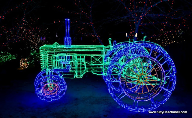 tractor made of christmas lights