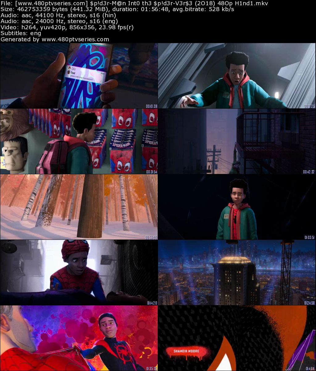 Spider-Man Into the Spider-Verse (2018) 450Mb Full Hindi Dual Audio Movie Download 480p Web-DL Free Watch Online Full Movie Download Worldfree4u 9xmovies