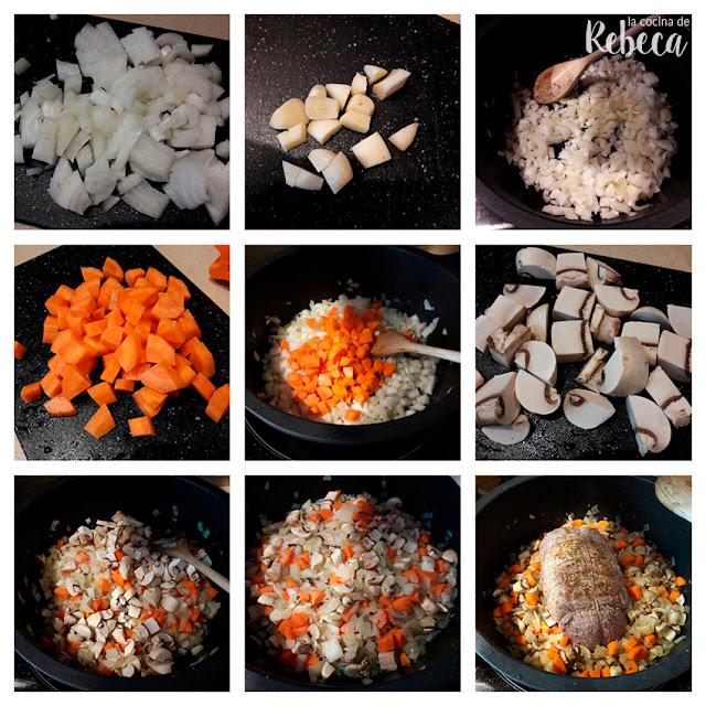 Receta de redondo de ternera asado: preparación de las verduras