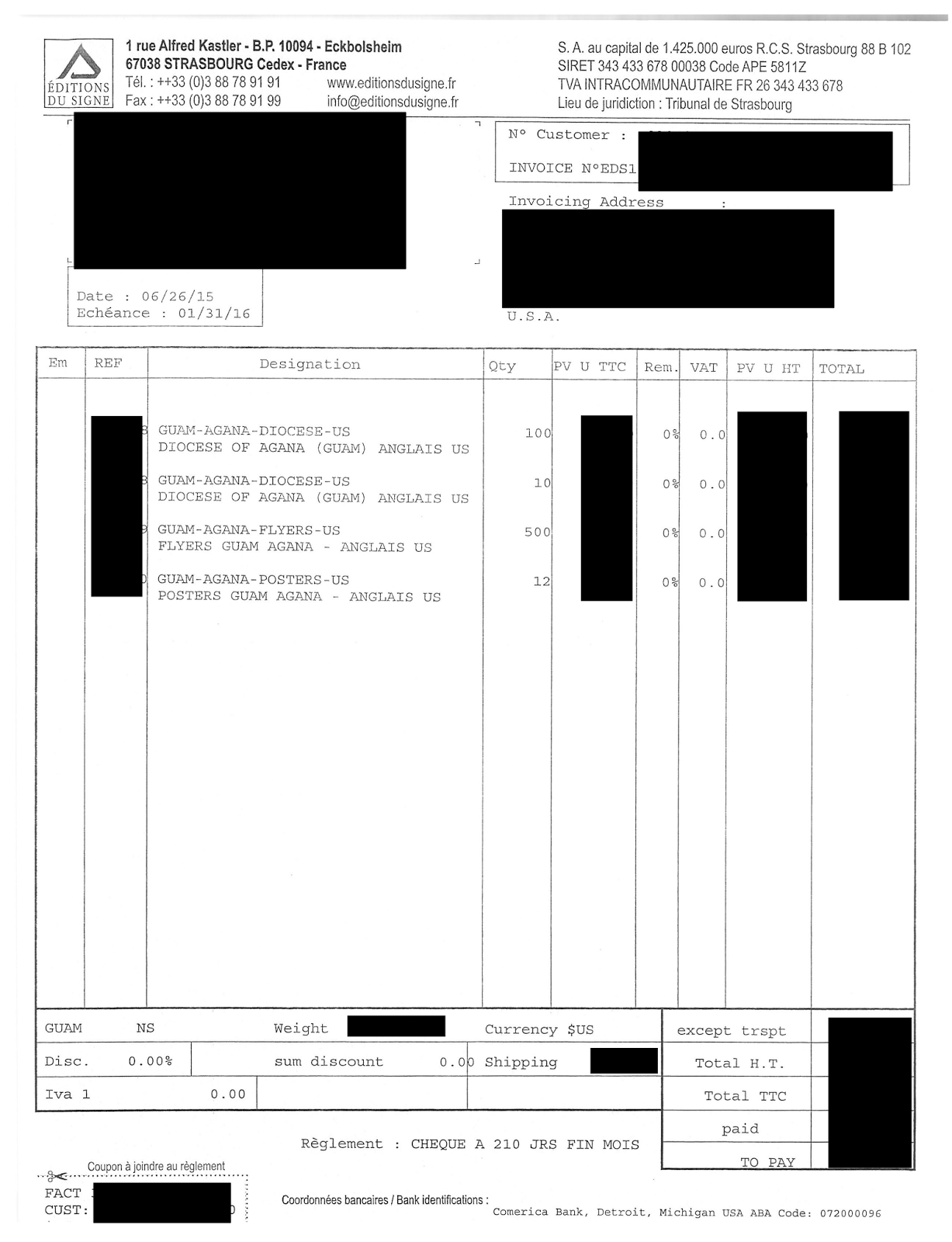Junglewatch Just When You Thought Apuron Couldnt Get Any Lower Comerica Bank Wiring Instructions Certain Info On This Invoice Has Been Redacted For Obvious Reasons