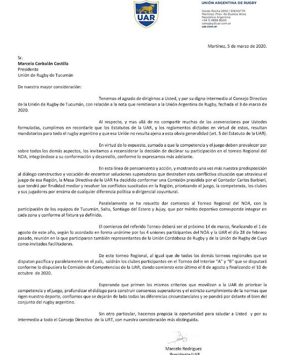 La UAR le responde a Tucumán #RegionalDelNOA