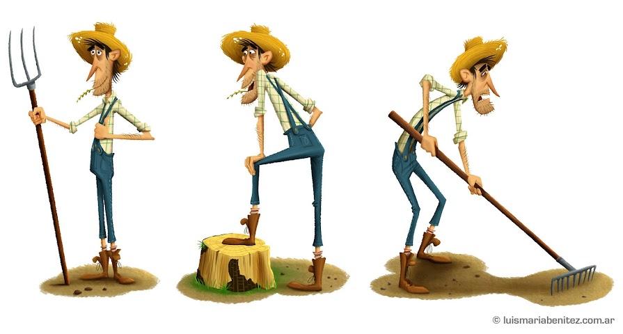 Farmer illustration by Luis María Benítez