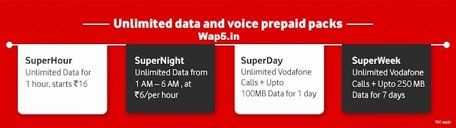 Vodafone Superpacks-Unlimited data and Voice calls for Prepaid users