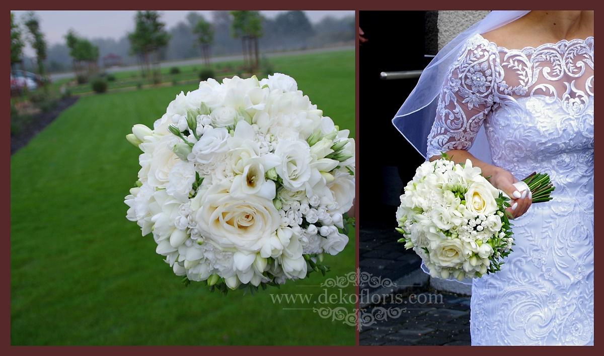 Biały bukiet ślubny róże i frezje Opole