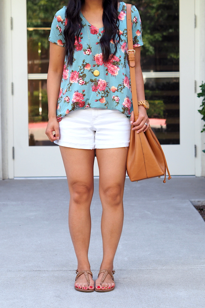summer casual outfit: turquoise floral print top + white shorts