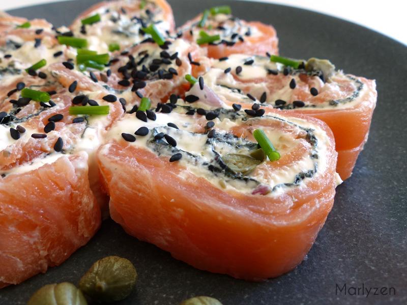 Saumon fumé à l'algue et au fromage frais