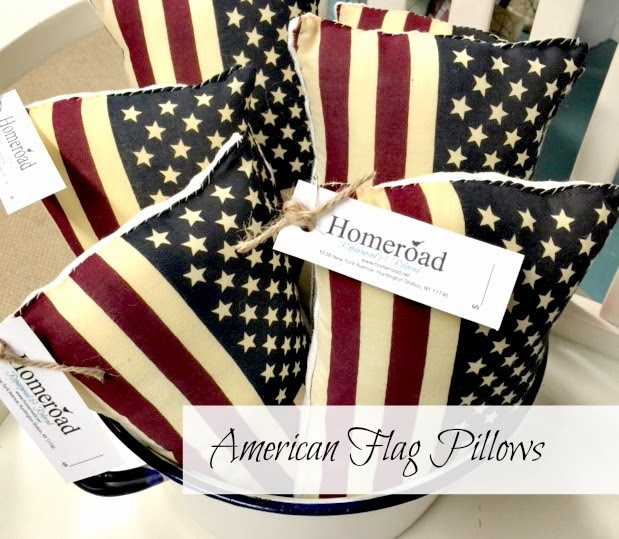 Flag pillows with tags in a bucket with overlay
