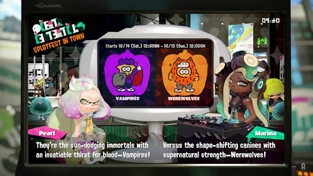 Splatoon 2 Splatfest Vampires Werewolves news announcement Pearl Marina