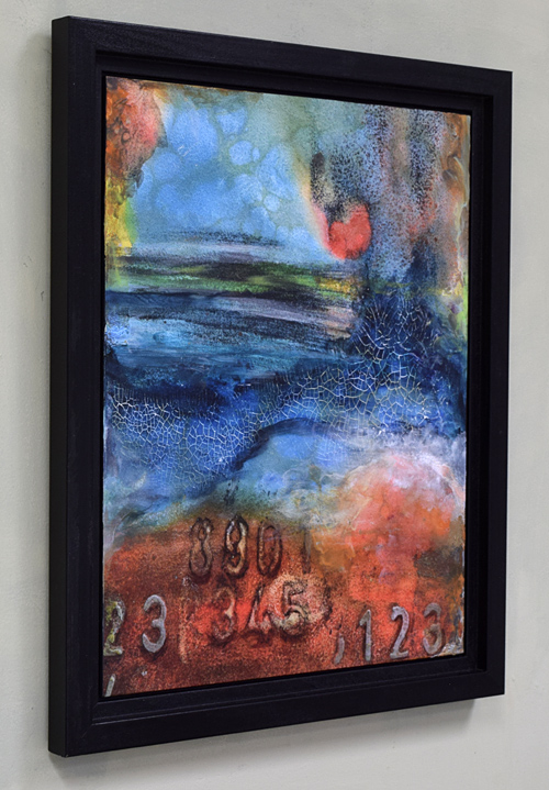 framed acrylic abstract colorful painting with numbers