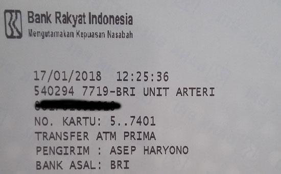 BUKTI TRANSFER :  Jika ada menerima informasi ada pembayaran melalui tranfer dengan melampirkan dokumen ini cek dahulu. Foto Asep Haryono