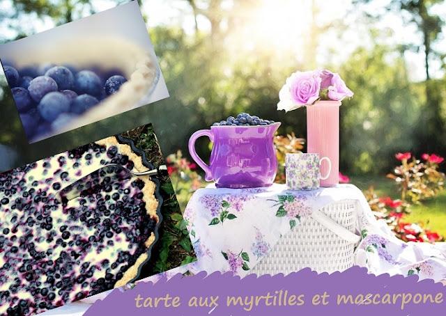 tarte dessert aux myrtilles et au mascarpone