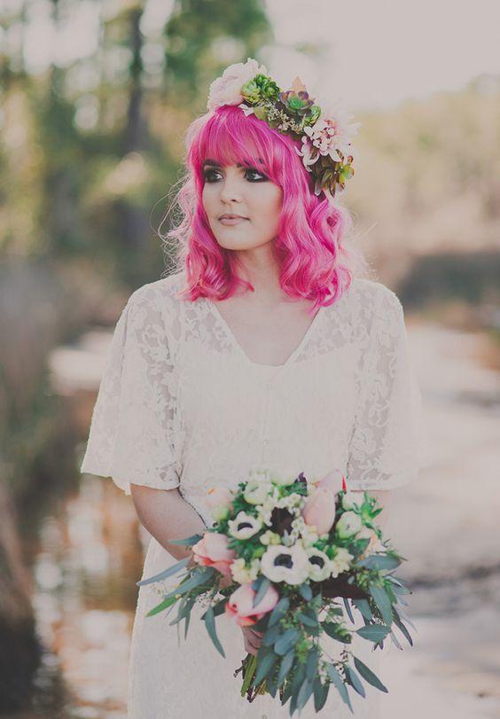 Penteados de Noivas com Cabelos Coloridos
