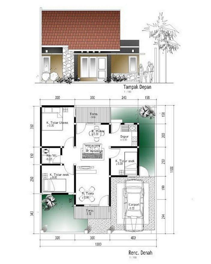 denah rumah type 56 minimalis