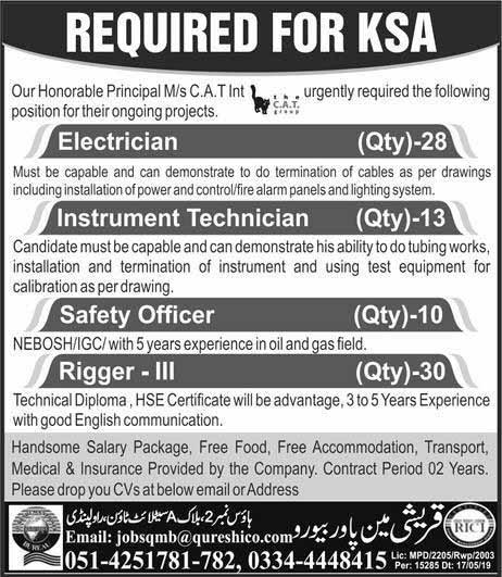 Electrician, Technician, Safety Officer, Rigger Jobs in KSA