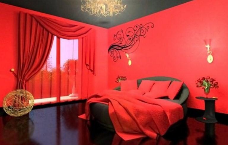 warna cat kamar tidur merah hitam 3