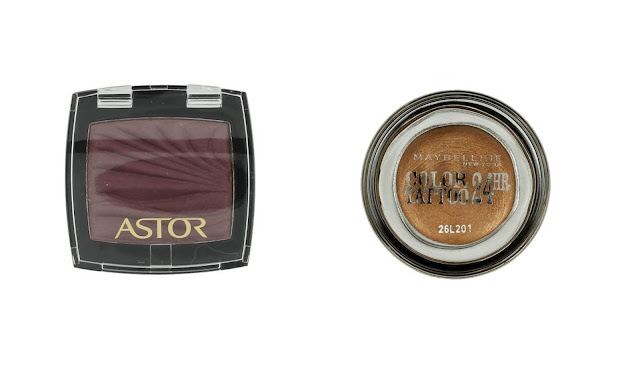 maybelline color tatoo 35 on and on bronze, astor color waves 630