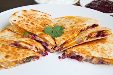 Salmon Bulgogi Quesadillas with Blueberry Salsa