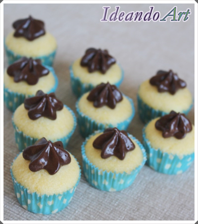 Cupcakes melón con buttercream chocolate