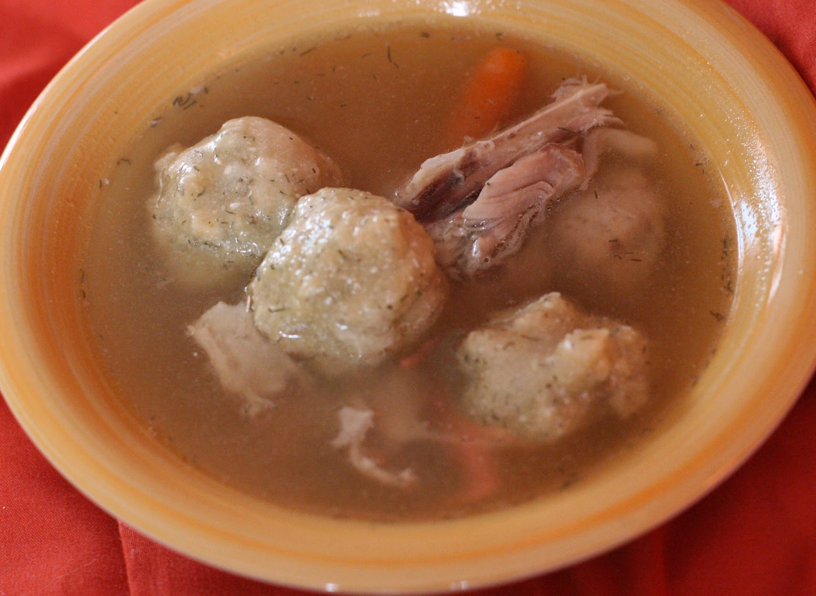 Matzo Ball Soup made at home in the slow cooker. (gluten free matzah ball recipe included if needed).