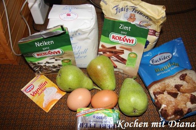 Zutaten Mandeln-Birne-Tarte