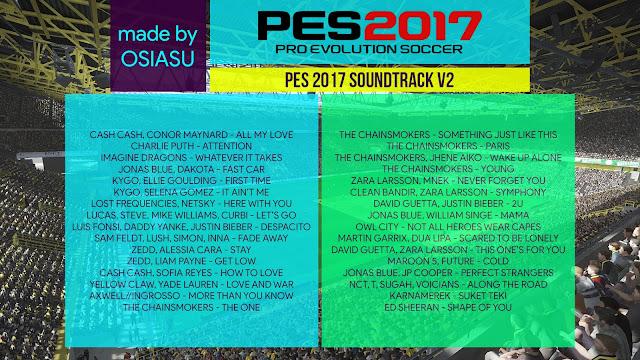 Lagu PES 2017 Terbaru V2 dari Osiasu