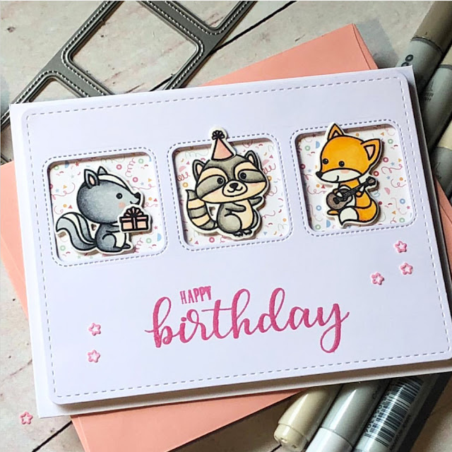 Sunny Studio Stamps: Critter Campout Window Trio Dies Customer Card by Noga Shefer