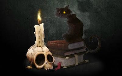 Romanticismo estadounidense: calavera, libros, gato negro y vela.