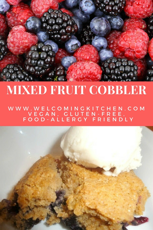 Mixed Fruit Cobbler (vegan, gluten-free, food allergy friendly) - www.welcomingkitchen.com