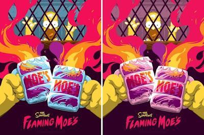 The Simpsons Screen Prints by Florey x Bottleneck Gallery x Acme Archives x Dark Ink Art - Flaming Moes