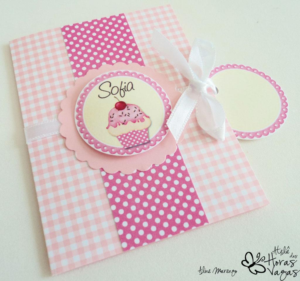 convite artesanal infantil aniversário 1 aninho rosa cupcake confeiteira