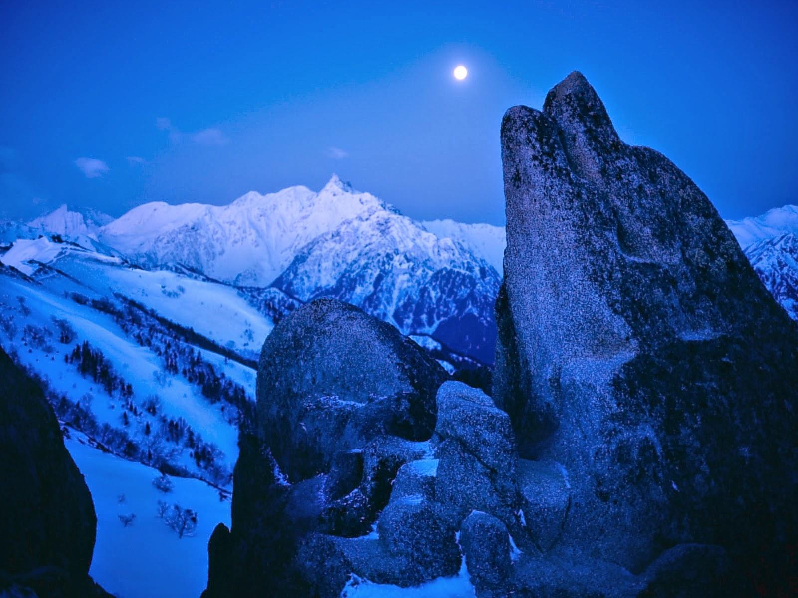 Wallgrab Moon In Ice Mountain Wallpaper
