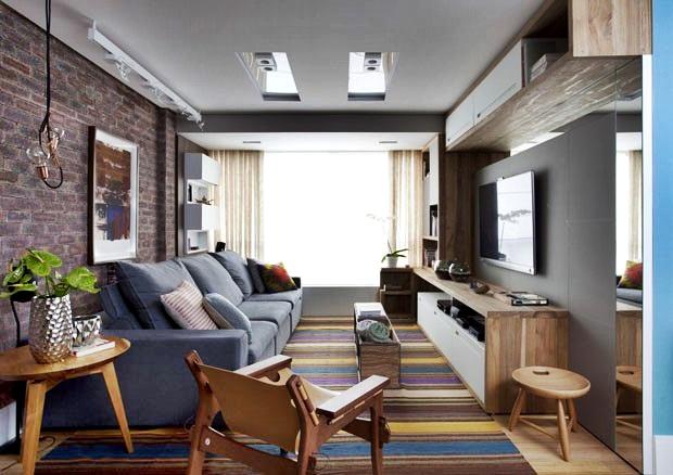 Sala moderna de apartamento com decora o colorida for Salas de apartamentos modernos