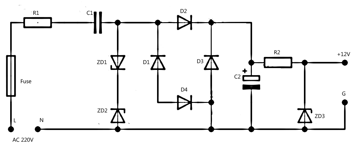 Simple Power supply without transformer DIY Circuit
