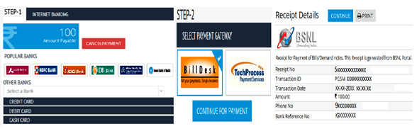 BSNL Recharge Online Payment