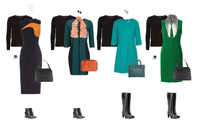 Комплекты капсульного гардероба с платьями и черным кардиганом