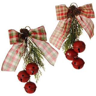 RAZ Christmas Tree Orchard red jingle bell and cedar spray ornaments