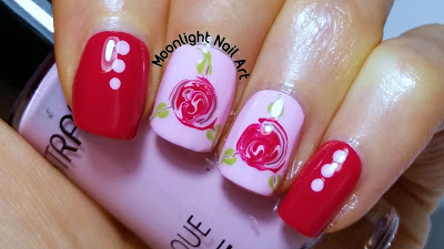 Romantic Rose Nail Design -  Drag Marble Nail Design - Valentine's Day Nail Art