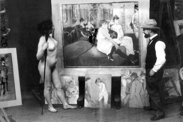Toulouse-Lautrec con su modelo Mireille en su estudio