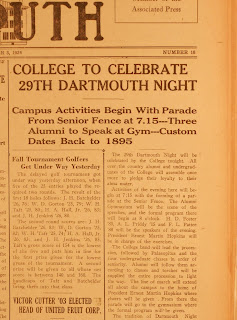 "A newspaper clipping with the heading ""College to Celebrate 29th Dartmouth Night."""