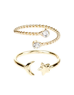 Moon and Star Midi Rings Accessorize