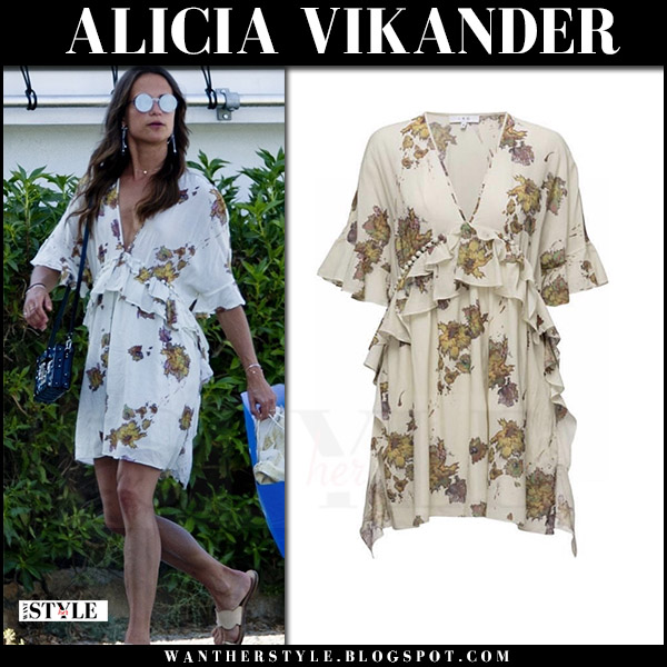 Alicia Vikander in cream floral print dress iro falal july 9 2017 celebrity summer style