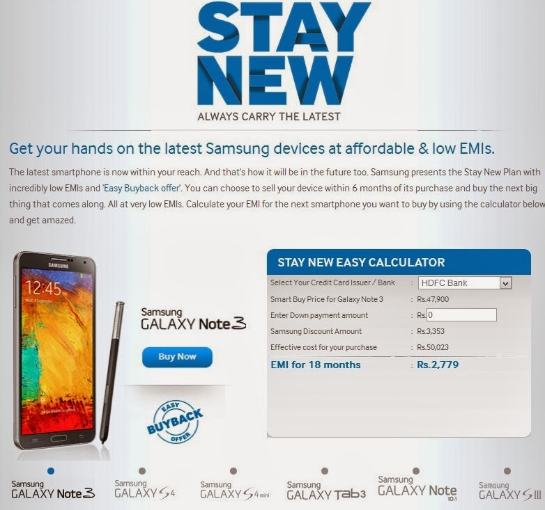 Samsung Galaxy Stay New offer details procedure