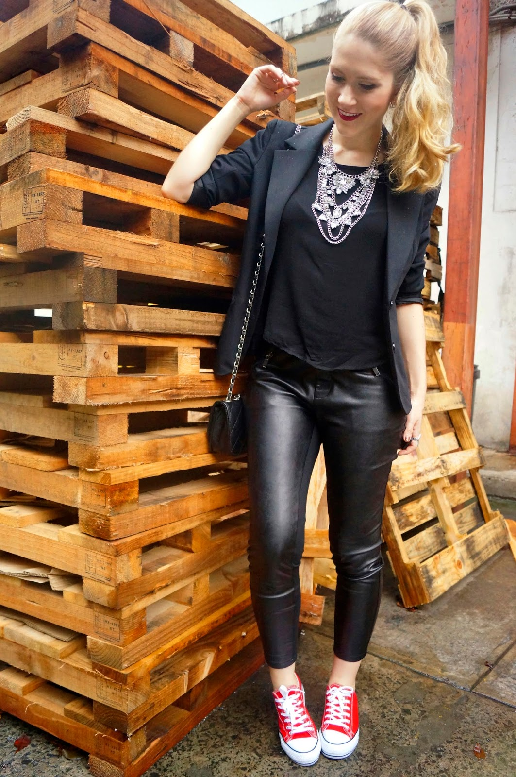 Comfy but cool outfit with black leather pants
