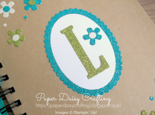 Notebook decorated with Large Letter framelits dies from Stampin' Up!