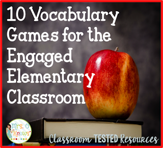 Interested in vocabulary games you can use with your classroom? This post from Mrs. O Knows is highlighted as part of a vocabulary strategies post on Comprehension Connection. For vocabulary games ideas, check out the original games post on Classroom Tested Resources. (Link included within this post)