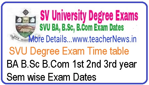 SVU Degree Exam Time table 2019 | Download BA B.Sc B.Com 1st 2nd 3rd year Sem Exam Dates www.svuniversity.ac.in
