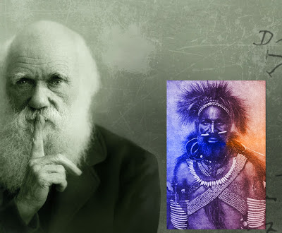 "New Guinea Aborigine added to Darwin picture. Darwinism has given a kind of false respectability and ""scientific"" justification for racism."