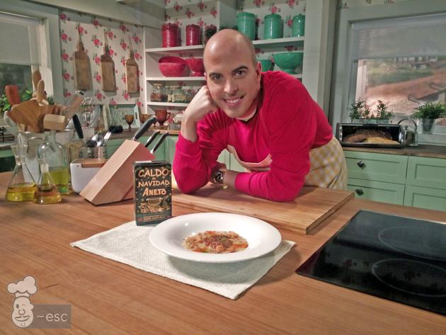 Receta en Canal Cocina con caldo de Navidad Aneto y El Saber Culinario