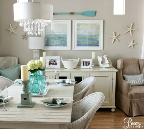 Beige and Aqua Beach Decor Living Room