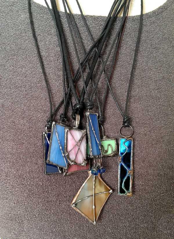 Polished and strung soldered glass pendants handmade jewelry polished and strung soldered glass pendants aloadofball Images